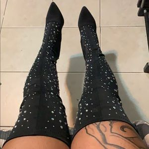Shoes - Rhinestone Thigh High Boots ✨NEVER WORN
